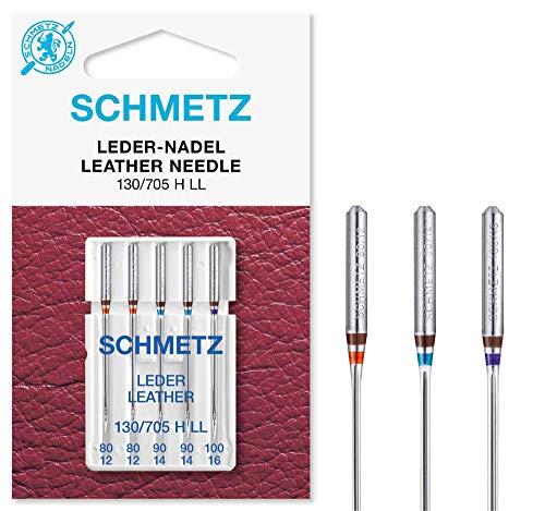 SCHMETZ Nähmaschinennadeln: 5 Leder-Nadeln, Nadeldicken 80/12-100/16, Nähset, 130/705 H LL, auf jeder gängigen Haushaltsnähmaschine einsetzbar, geeignet für das Vernähen von Leder