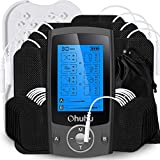 Upgraded Independent Dual Channel TENS EMS Unit of Ohuhu, 20 Massage Modes Rechargeable Muscle Stimulator for Pain Relief Therapy, Electronic Pulse Massager with 24 Pads, Matte Black Father's Day Gift