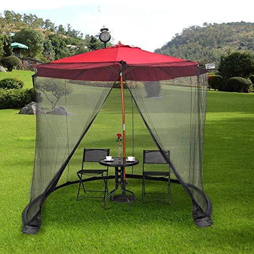 DSHUJC Cubierta de Mosquitos de jardín, Pantalla de Pantalla de sombrilla de Patio Mosquitera de Patio Redonda Universal Resistente al Agua con mosquitera Toldo con Puerta con Cremallera
