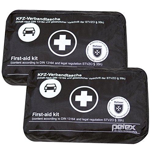 2 Stück KFZ Verbandtasche Schwarz Neufassung DIN 13164-B Auto PKW Verbandkasten Erste Hilfe