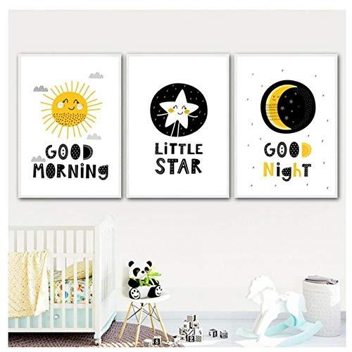 kaxiou Sun Star Moon Good Morning Nordic Carteles e Impresiones Arte de la Pared Lienzo Pintura Nursery Wall Pictures Baby Girl Boy Room Decor-40X60Cmx3 Pcs Sin Marco