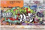 Wallario XXL Poster - Rap-Graffiti- Wand mit verschiedenen Tags in Premiumqualität, Größe: 100 x 150 cm