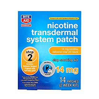 Rite Aid Nicotine Transdermal System Patch, Step 2, 14mg - 14 ct, Nicotine Patches Step 2 | Quit Smoking, Quit Smoking Aid | Nicotine Patch | Bonus Behavioral Support Program Information Included (B07T25HJ51) | Amazon price tracker / tracking, Amazon price history charts, Amazon price watches, Amazon price drop alerts