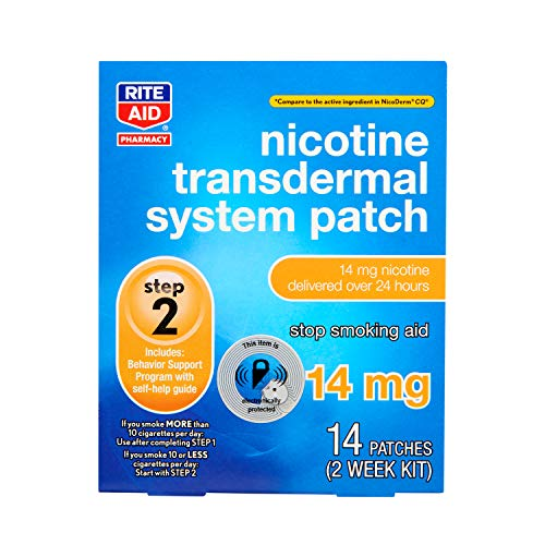 Rite Aid Nicotine Transdermal System Patch, Step 2, 14mg - 14 ct, Nicotine Patches Step 2 | Quit Smoking, Quit Smoking Aid | Nicotine Patch | Bonus Behavioral Support Program Information Included