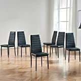 IDS Online Modern Faux Leather with Metal Legs High Back Padded Seat Chair for Kitchen, Dining Living Room, Restaurant, Set of 6, Black