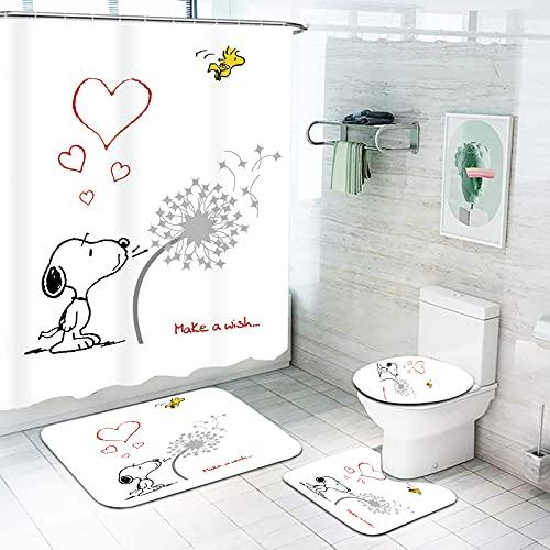 Fgolphd Snoopy Duschvorhang 180x200180x180 Anime Snoopy Bunt Badezimmerteppich 4-teiliges Set, Cartoons Shower CurtainsWasserdicht (180 * 180,10)