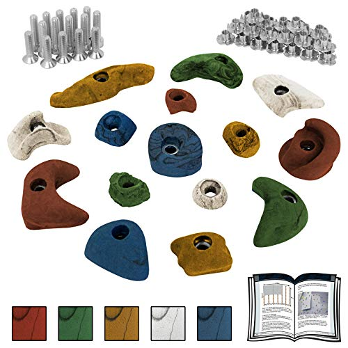 ALPIDEX Starterset: 15 Klettergriffe Klettersteine inklusive Schrauben und Einschlagmuttern - Farbe:bunt