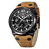 BENYAR Herren Uhr Chronograph Analog Quarz Militär Wasserdicht Armbanduhr mit Big schwarz Skelett Zifferblatt Leder Armband