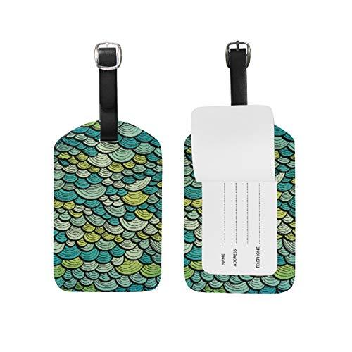 Orediy - Etiqueta de Piel sintética para Equipaje con diseño de balanza de Pescado