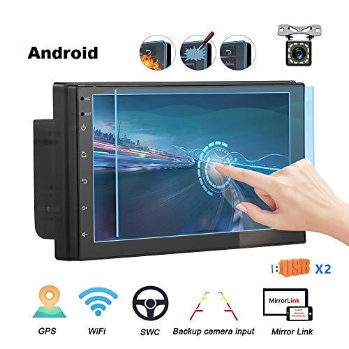 Podofo Double Din GPS Autoradio 7 '' Capacité Écran Tactile TFT Lecteur MP5 de Voiture avec Bluetooth 4.0 WiFi GPS Récepteur Radio FM Prise en Charge Lien Lien Miroir et caméra de recul