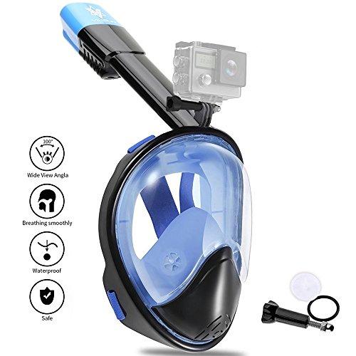 V VILISUN Tauchmaske, Vollmaske Schnorchelmaske Vollgesichtsmaske mit 180° Sichtfeld und Kamerahaltung, müheloses Atmen UV-Schutz, Dichtung aus Silikon Anti-Fog und Anti-Leck, für Erwachsene