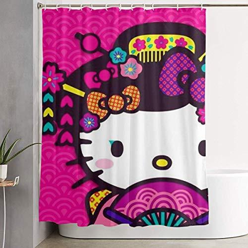 Lustiger Stoff-Duschvorhang Hello Kitty mit Ventilator Wasserdichtes Badezimmerdekor mit Haken 60 x 72 Zoll