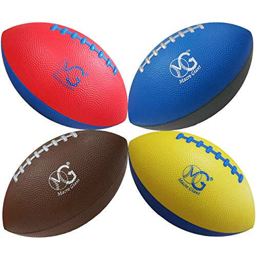Macro Giant 9 Inch Foam Football, Set of 4, 4 Colors (Blue, Brown, Yellow, Red), Beginner, Training Practice, Camp Games, Playground, Parenting Activity