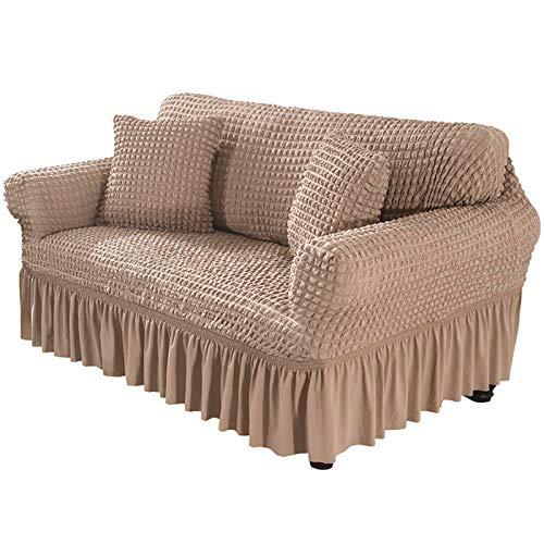 Xin Hai Yuan Funda de sofá con falda, elástica, antideslizante, suave, duradera, lavable a máquina, cojín en T, protector de muebles, color beige, 4 plazas