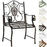 CLP Chaise de Jardin Punjab I Chaise de Jardin en Fer Forgé avec Accoudoirs Design Romantique Style Antique I Chaise de Jardin Terrasse ou Balcon I Couleur: Bronze