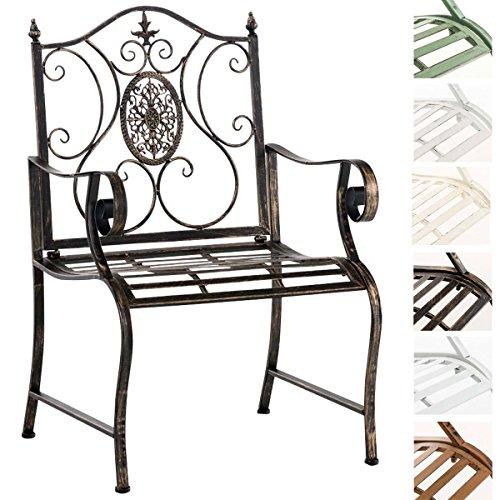CLP Lackierter Eisen-Gartenstuhl Punjab mit Armlehne I Outdoor-Stuhl im Landhausstil I erhältlich Bronze