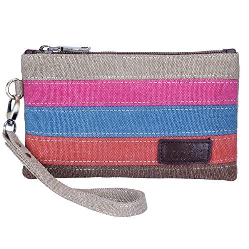 Lecxci Women's Canvas Smartphone Wristlets Bag, Clutch Wallets Purses for iPhone 6S/7 Plus/8 Plus/XS (Color-strap)