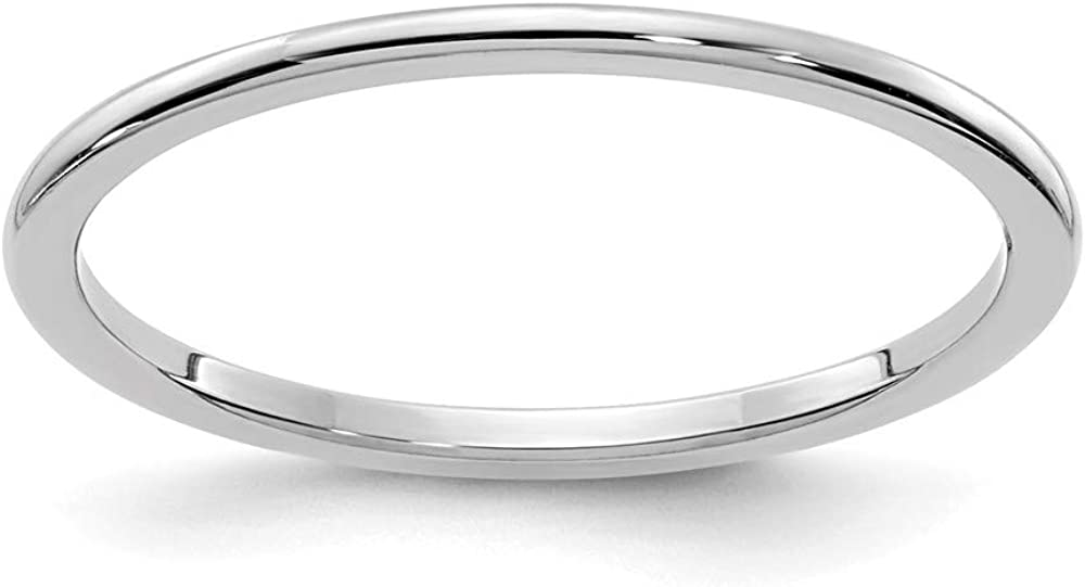 Solid 14K White Gold 1.2mm Classic Dome Stackable Band Thin Wedding Anniversary Ring