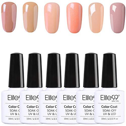 Elite99 Esmalte de Uñas, Esmaltes Semipermenentes para Uñas, 6pcs Kit de Uñas de Gel, Soak off Pintauñas de Colores para Manicura 10ml - Nude 001