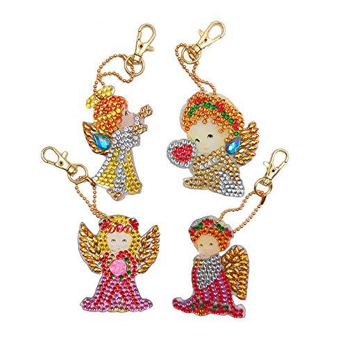 LFTYV 5D Diamond Painting Kit Keychain 4Pcs DIY Handmade Full Diamond Painting Decorative Accessories Angel Crafts Key Rings for Bag Purse Handbag,Angel