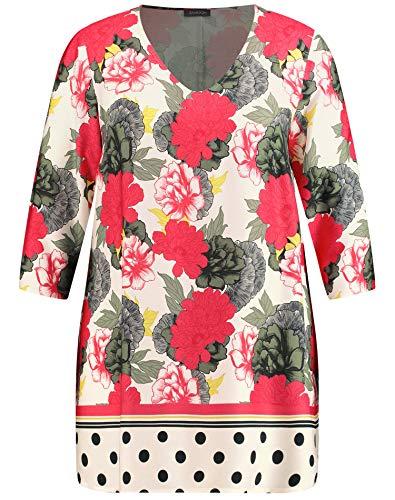 Samoon Damen Tunika mit Flower-Print leger Bright Rose Gemustert 48