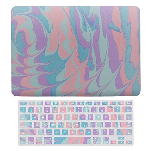 For MacBook Air 13 Inch Case A1466, A1369, Plastic Hard Shell & Keyboard Cover Compatible with MacBook Air, Abstract Purple Blue Pink Circle Art Pattern Laptop Protective Shell Set