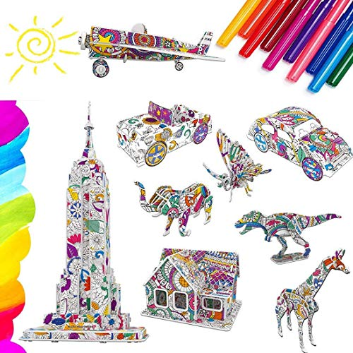 Yefun 3D Coloring Puzzle Set, Arts and Crafts for Kids, Gifts for 5-12 years old Girls Boys
