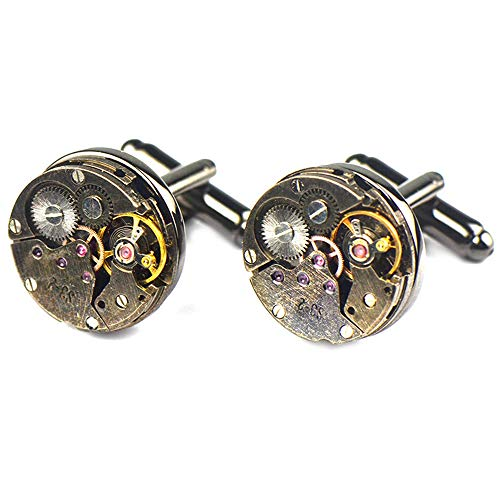 YXCM Manschettenknöpfe für Männer Rotgold runde mechanische Uhr Ärmel Bewegung Uhr Kern Manschette Nagel geeignet für Fotografie, Business, Geschenke, Hochzeit,gunblack