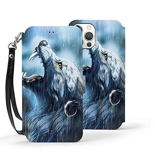 Ip12-6.1 Funda de cuero Flip Phone Wallet Cover A prueba de golpes Lobo lluvia Luna Ojos de protección con ranura para tarjeta titular Kickstand