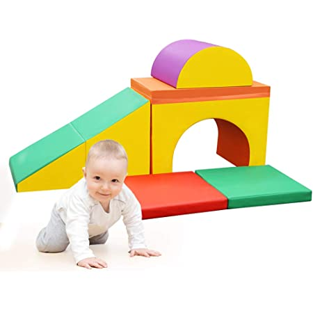 Beginner Toddler Crawl and Climber with Slide Ramp Indoor Active Play Structure for Babies and Toddlers JOYMOR Soft Foam Climber 2-Piece Sets Climb Foam