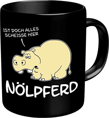 RAHMENLOS Original Kaffeebecher für Nörgler: Nölpferd, ist doch Alles Scheisse Hier! Im Geschenkkarton 2607