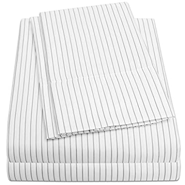 1500 Supreme Collection Bed Sheets - PREMIUM QUALITY 4-PIECE BED SHEET SET & LOW PRICE, SINCE 2012 - Deep Pocket Wrinkle Free Hypoallergenic Bedding - 4 Piece Set - White Body/Gray Pinstripe - Queen