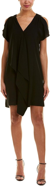 Adrianna Papell Women's Cold Shoulder Asymmetrical Draped Dress Black 2