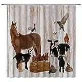 Bauernhoftier DuschvorhäNge Bauernhaus Herbst Sonnenblume Ahornblatt Vintage Holzbretter Hintergr& Kuh Pferd Bad Stoff Vorhang-B180xh180cm