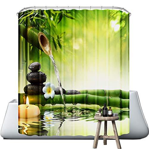 wiipara Duschvorhang Waschbar Bad Vorhang Textil aus Polyester Stoff Wasserdicht Badewanne Vorhang mit 12 Duschvorhängeringen für Eck Badewanne (Bambus, 180 x 180 cm)