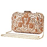 Clocolor Evening Bags and Clutches for Women Sequins Clutch Beaded Purse Wedding Party Handbag(Gold)