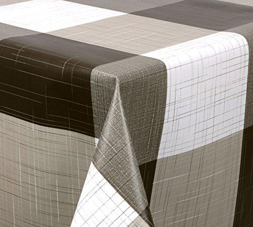WACHSTUCH Tischdecken, Meterware abwischbar, Größe wählbar, 120x140 cm, Glatt Nadelstreifen Braun