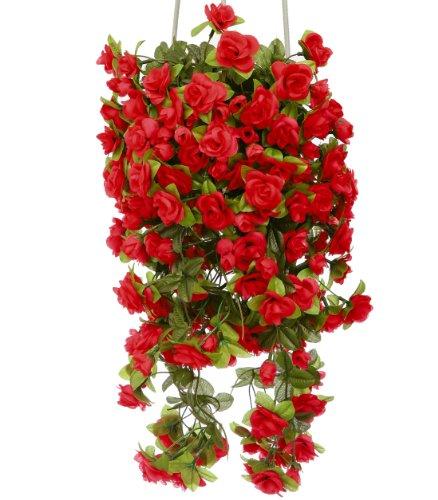 Rosen rot hängend 50 cm Kunstpflanze Kunstblume