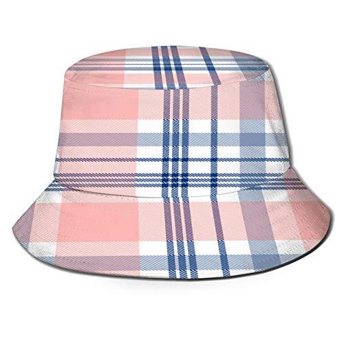TTLUCKY Sombrero de Pesca,Patrón de Cuadros de tartán Transparente Rosa Azul Marino,Senderismo para Hombres y Mujeres al Aire Libre Sombrero de Cubo Sombrero para el Sol