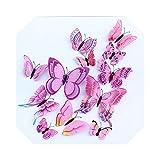 スティックウォール| 12ピース/セット3d二重層の翼の蝶ウォールステッカーマグネットと接着剤磁気PVC蝶パーティーの子供のための家の装飾-ピンク-