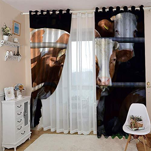 cortinas opacas salon 46x90 Inch Animales vacas rejas Cortinas Opacas Modernas- Cortinas Térmicas Aislantes Frío Calor Reduccion Ruido Evitar Rayos UV Proteccion Intimidad Ojales para para Habitacion