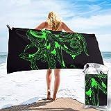 artyly Cool Green Octopus Art Toallas de Playa de baño Ligero de Microfibra de Viaje rápido de Secado rápido para Acampar, Caminar y Usar en el hogar