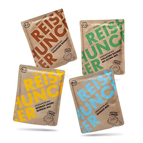 Reishunger BIO Gedämpfter Mikrowellen Reis Probier Set (4 x 250g) - Auch in 8 x 250g verfügbar - Fertig in 2 Minuten - Vegan, Glutenfrei & 100% Sortenrein