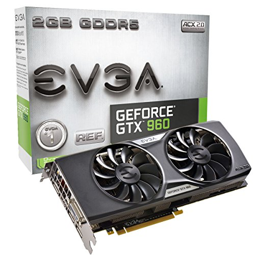 EVGA GeForce GTX 960 4GB SSC GAMING ACX 2.0+, Whisper Silent Cooling w/ Free Installed Backplate Graphics Card 04G-P4-3967-KR