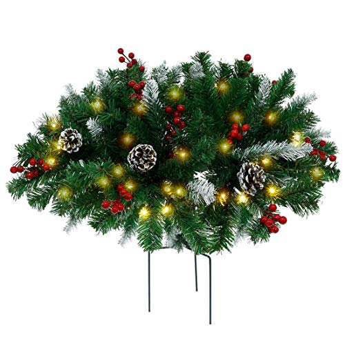 Juegoal Pre-lit Artificial Christmas Urn Filler with Pine Cones, Red Berries, Tripod Stake and Pre-Strung Warm White 60 LED Lights, Frosted Berry Planter Filler Xmas Holiday Home Decorations, 1 Pack