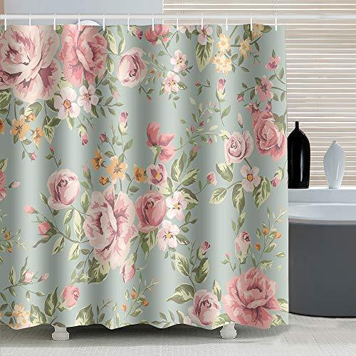 ufengke Duschvorhang Rosa Rose Blume mit 12 Haken Grün Duschvorhang aus Stoff Polyester Wasserdicht Anti Schimmel für Badezimmer 180x180cm