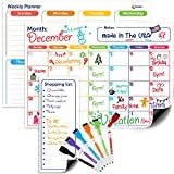 Magnetic Dry Erase Calendar Set – Fridge Calendar White Board with Weekly Planner; Grocery List; 6 Colored, Fine-Tip Markers – Message Center for Family or Office Refrigerator by Kedudes, 12x17 in.