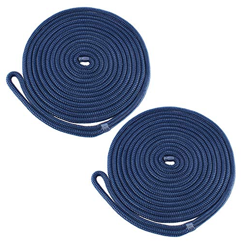 Amarine Made (2-Pack,1/2 Inch,15 FT Double Braid Nylon Dockline Mooring Rope Double Braided Dock Line,Marine Ropes for Boats (Cadet Blue)