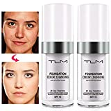 2 PACK TLM Foundation Color Changing Makeup Concealer TLM Colour Changing Foundation Magic All Day Flawless Warm Skin Tone With SPF Beauty Lightweight Hide Liquid Base Cream Face Moisturizing