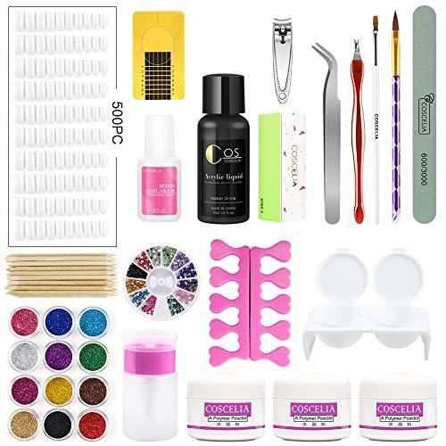Liquide Acrylique Nail Kit Acrylique Poudre 500pc Faux Ongles Powder Paillettes Strass Décorations Manucure Lime Pinceau Stylos Accessoires Nail Outils Coscelia